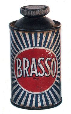 Brasso liquid polish Can circa 1920s-1930s  I chose this because it looked interesting, I'm not sure what they used this for.