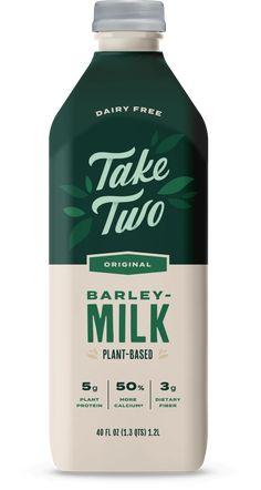 Best in Plant Based Taste - Take Two Barley Milk Milk Packaging, Food Packaging Design, Beverage Packaging, Coffee Packaging, Bottle Packaging, Packaging Design Inspiration, Bottle Labels, Milk Plant, Plant Based Milk