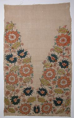 embroidered towel end - late 18th century, Turkey (Linen, silk, metal wrapped thread; plain weave, embroidered)