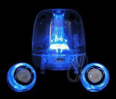 Clear Acrylic speakers with blue LED lights