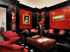 Ralph lauren brook street sofa black leather upholstery - Red black and white themed living room ...