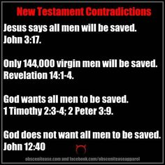 Contradictions in the New Testament Bible. Christian contradictions...