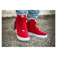 NIKE Women's Shoes - Nike Air Force 1 High Suede Gym Red - Find deals and best selling products for Nike Shoes for Women Sneakers Mode, Sneakers Fashion, Fashion Shoes, Mens Fashion, Nike Sneakers, Running Sneakers, Ladies Sneakers, Yellow Sneakers, Jordan Retro