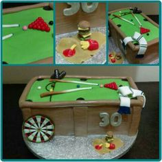 Snooker table mash up cake with a dart board, calling cans, Leeds scarf and McDonald's