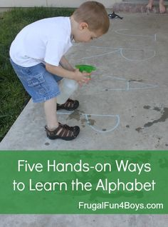 Five Hands-on Preschool Alphabet Activities - using items from around the house!
