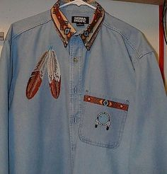 Native American 163146: Eagle Feather Denim Shirt (Native American Looking) -> BUY IT NOW ONLY: $5500 on eBay!