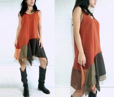 Quemado mini vestido naranja Boho babydoll vestido por idea2wear, $40.00