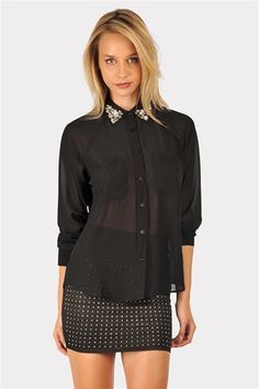 Brit Bejewled Blouse - Black from Necessary Clothing http://studentrate.com/StudentRate/fashion/fashion.aspx
