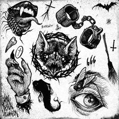 Find the perfect tattoo artist to create the work of art that is you Tattoo Sketches, Tattoo Drawings, Art Drawings, Flash Art Tattoos, Body Art Tattoos, Arte Horror, Horror Art, Arte Tim Burton, Geniale Tattoos
