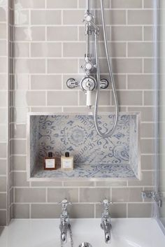 Add a bit of colour and pattern to your bathroom by using contrast tiling. This texture will liven up any bathroom.