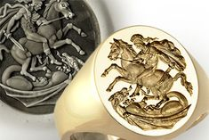 George Slaying Dragon Ring - Replica of the Greek Style original by Benedetto Pistrucci Mens Silver Jewelry, Mens Gold Rings, Bishop Ring, Ring Bear, Dragon Ring, National Symbols, The Cross Of Christ, Religious Symbols, Wax Seals