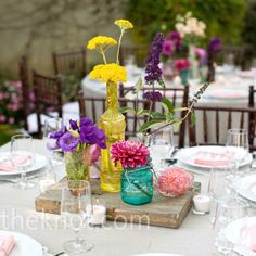 Vintage Wedding Colorful Flower Centerpieces - photo by: Love Ala, Los Angeles, CA
