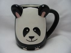 Panda-Bear-16-Oz-Coffee-Tea-Cocoa-Mug-Cup-3-D-Figural-Hand-Painted-By-Tag