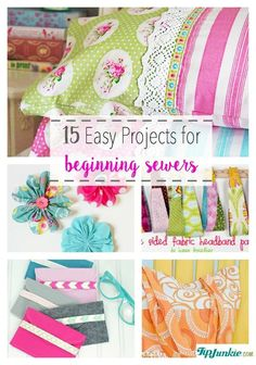 15 Easy Projects for Beginning Sewers ...You'll love these 15 easy sewing projects that are perfect sewing machine projects for beginners!  If you're just learning how to sew or want an easy pattern that you can quickly whip up, then check out these easy sew projects for the home, simple bags and even clothing!