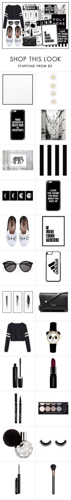 """The Best Of Black And White"" by angelstylee ❤ liked on Polyvore featuring By Lassen, Monsoon, Casetify, Karl Lagerfeld, Yves Saint Laurent, adidas, Kim Salmela, Marni, Marc Jacobs and Smashbox"