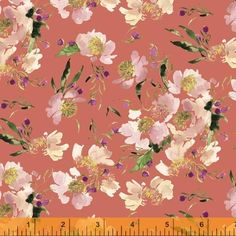 Wildflower Collection, Clair de Lune, Coral Cotton Fabric by Kelly Ventura for Windham, 52253-1 - continuous yardage