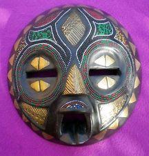 Vintage African Baluba Tribal Mask Hand Carved Beaded Ethnic Art Congo