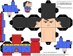 My Custom Cubeecraft / Papercraft Cutout template of Superman. From the Justice League Cartoon Series. (All My Custom Cubeecraft Templates are made on M. Superman Party, Superhero Party, Superhero Superman, 3d Paper Crafts, Paper Toys, Paper Cube, Diy Y Manualidades, Origami Cube, Paper Models