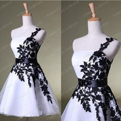 White and black lace prom dresses elegant one-shoulder sash beaded sequins Grad Dresses Short, Black Prom Dresses, Elegant Dresses, Casual Dresses, Autumn Street Style, Street Style Women, Dress First, Women's Fashion Dresses, Ball Gowns