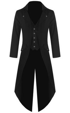 Mens Gothic Tailcoat Jacket Black Steampunk VTG Victorian Coat (L, Black) at Amazon Men's Clothing store: