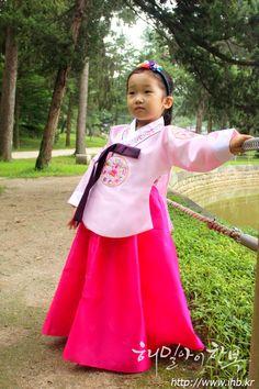 해밀아이 유아한복, 돌한복, 아동한복 당의 - 희대민분진 (분홍당의에 꽃분홍치마)