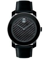 Movado Unisex Swiss Bold Black Coated Leather Strap Watch 42mm 3600170