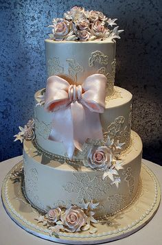 Victorian Wedding Cake- I like it better without the bow and the leaves :)