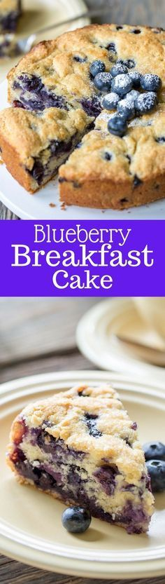 """Blueberry Breakfast Cake - a deliciously moist and lightly sweet """"coffee"""" cake bursting with fresh juicy blueberries ~ www.savingdessert.com"""