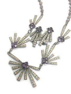 Art Deco Jewelry Set Vintage 1940s 1950s by BatCityVintage on Etsy