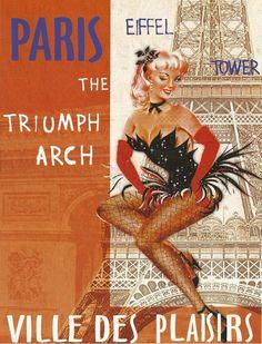 Antique French advertising print - EIFFEL TOWER Paris ville des Plaisirs. $9.00, via Etsy.