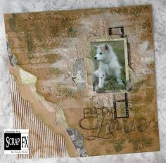 Puppy Love by Cindy Porter featuring Scrap FX chipboard, filmstrip transparency, and stamps.