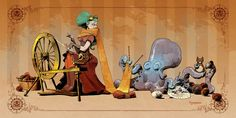 "From Brian Kesinger: My new #ottoandvictoria print, ""crafting with otto"" is now available in my #etsy shop! https://www.etsy.com/listing/209104042/crafting-with-otto-various-sizes?"