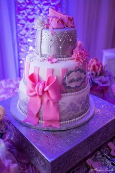 Incredible cake at a ballerina baby shower party! See more party planning ideas at CatchMyParty.com!