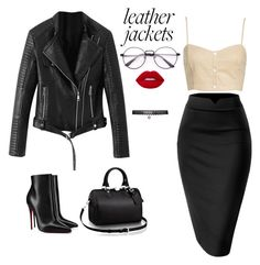 """""""leather jacket"""" by nitakadir on Polyvore featuring Leith, Christian Louboutin, Louis Vuitton and Betsey Johnson"""