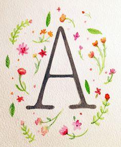 Bridesmaid Gift/ Flowergirl Gift  Watercolor Monogram 5.5 x 7.5 Customize your by RebekahsValentine, $8.00