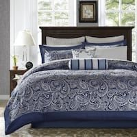 Madison Park Whitman Navy 12-piece Complete Bed Set Bed Comforter Sets, Queen Size Bedding, Bedroom Comforters, Navy Blue Comforter Sets, Luxury Comforter Sets, Navy Bedding, Bedding Shop, Console, Khadra