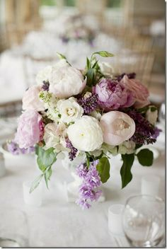 lilac and white bouquet via style me pretty