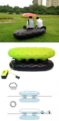 Public bench that inflates through rain, cool! - posted by Dakwaarde