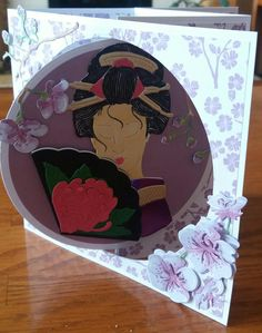 Used Tattered Lace Beautiful Geisha and free cherry blossom die for this card. The oriental dies from Tattered Lace are gorgeous.