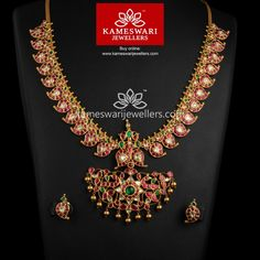 Traditional gold necklaces for women from the house of Kameswari. Shop for antique gold necklace, exquisite diamond necklace and more! Gold Bangles Design, Gold Jewellery Design, Antic Jewellery, Jewellery Shops, Ruby Jewelry, Bridal Jewelry, Gold Jewelry, Jewelry Art, Mango Mala Jewellery