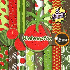 Watermelon Digital Paper  Clipart : Watermelon by DGexpress
