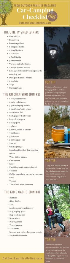 Don't ever forget anything again. Print Outdoor Families Magazine's free car camping checklist. Let us help you get your camping bins organized so you can get outside with the family more! #carcampingchecklist #carcampingorganization