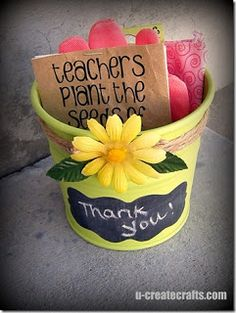 gardening gloves+seeds+chalk board paint pot
