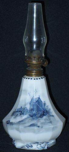 Antique Miniature Delft Oil Kerosene Lamp Base w Chimney Paneled Windmill Lake | eBay