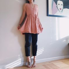 thrifted vintage pink cotton button-up dress go-to black high waisted jeans High Waisted Black Jeans, High Waist Jeans, Thrift Store Fashion, Thrifting, Vintage Fashion, Unique, Pink, Cotton, Clothes