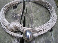 Necklace Linen EcoFriendly Thread Knots Metal Silver by espurna88, €21.90