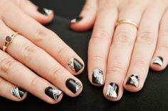 Nail-Art Masterpieces In Minutes: How To Use Nail Strips For Amazing DIY Creations  #refinery29  http://www.refinery29.com/how-to-do-nail-art-with-strips#slide-20  Alexandria Gurule, our Marketing Manager, created a really mind-boggling effect by painting black nail color with and against the patterns of these Tri-bal It On  strips, then adding a little gold before applying a top coat. The more she experimented, the better it got.Photographed by Mark Iantosca