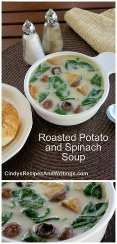 Roasted Potato Spinach Soup a chill chasing vegetarian #SundaySupper