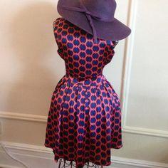 Beautiful Silk , Navy Blue/Red Dress!! New!!! GEorgous Dress!!! Fabric is really beautiful!!! Brand New! Never Worn!! Dresses