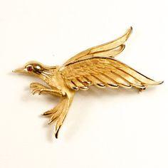 Vintage Crown Trifari Bird Brooch Red by TwiceBakedVintage on Etsy, $50.00
